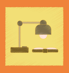 flat shading style icon lamp open book vector image