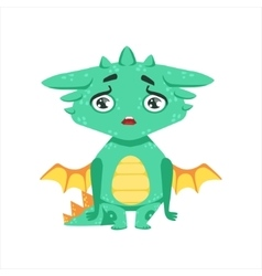 Little Anime Style Baby Dragon Upset And vector image