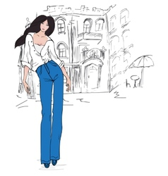 Fashion girl in sketch vector image