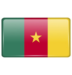 Flags cameroon in the form of a magnet on vector image