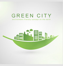 isolated city buildings on green leaf design vector image