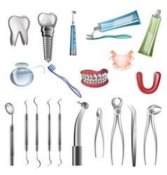 realistic dentist tools vector image vector image