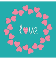 Round love frame with pink hearts Flat design styl vector image vector image