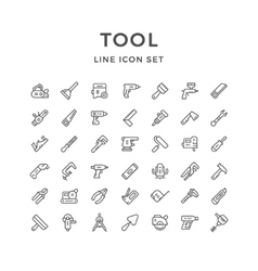Set line icons of tool vector image