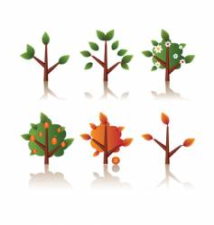 set of icons tree seasons vector image vector image