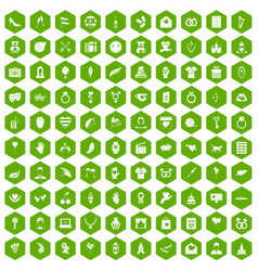100 heart icons hexagon green vector