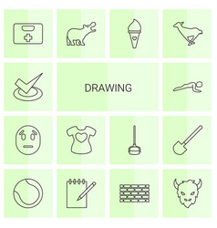 14 drawing icons vector