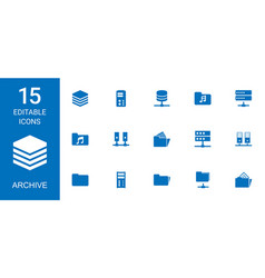 15 archive icons vector