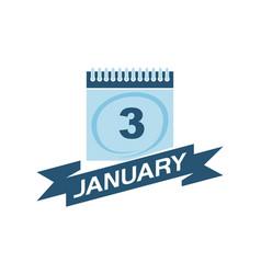 3 january calendar with ribbon vector