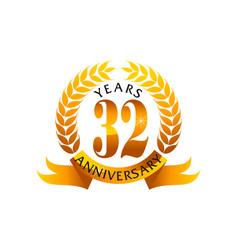 32 years ribbon anniversary vector image