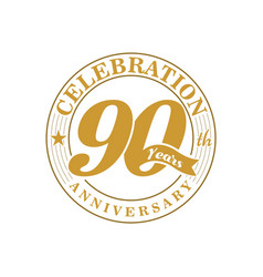 90 th golden anniversary vector