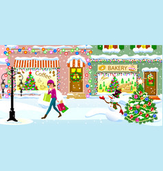 a woman on a snow-covered street on christmas eve vector image