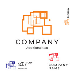 Abstract construction logo with lines vector