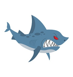 Angry shark Marine predator with large teeth vector
