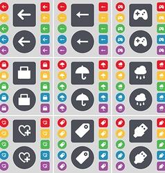 Arrow left Gamepad Lock Umbrella Cloud Heart Tag vector