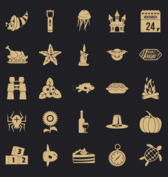 Autumn walk icons set simple style vector