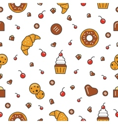 Bakery and Desserts Line Art Thin Seamless Pattern vector image