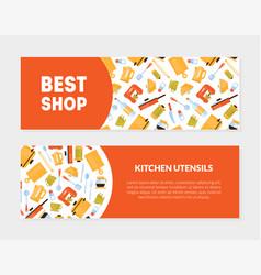 best shop kitchen utensils banner templates set vector image