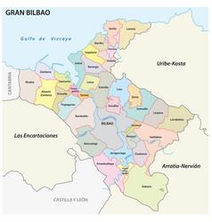 Bilbao metropolitan area administrative map vector