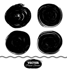 Black paint spots set Ink brush Circle set vector image