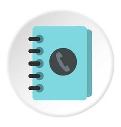 Blue address book icon circle vector