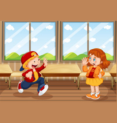 boy and girl in classroom vector image