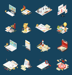 business strategy isometric icon set vector image