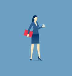 Business woman stands and shows thumb up vector