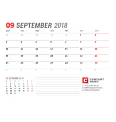 calendar template for september 2017 business vector image