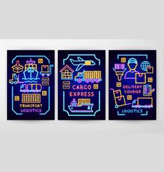 Cargo neon flyer concepts vector