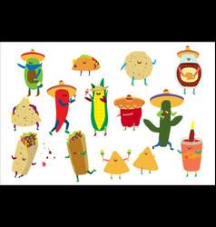cartoon cute mexican food vector image
