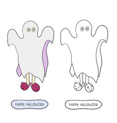 cartoon ghost in badspread on white background vector image