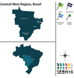 Central west region of brazil vector