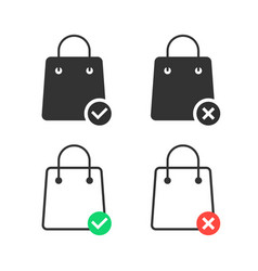 Check and cancel purchase with shopping bags vector