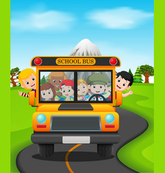 children of a school bus vector image