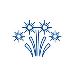 christmas fireworks line icon concept christmas vector image