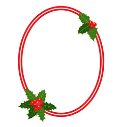 christmas frame with holly leaves ellipse vector image
