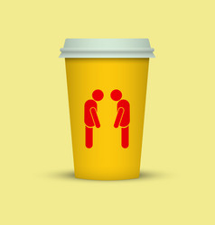 coffee cup with two sleepy man silhouette on it vector image