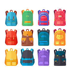 Colorful backpacks flat collection vector
