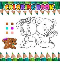 Coloring book couple romantic bear vector