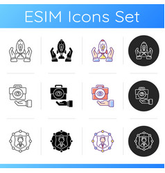 Company mission icons set vector
