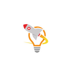 creative rocket launch lamp logo vector image