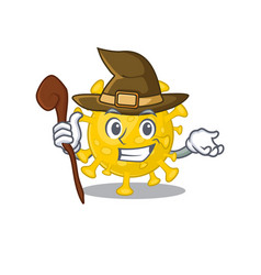 Cute and sneaky witch corona virus diagnosis vector