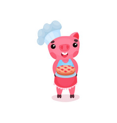 Cute smiling pig chef character holding freshly vector