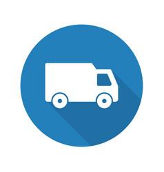 delivery van flat design long shadow glyph icon vector image
