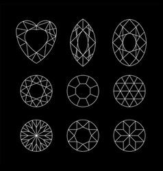 Diamond set of gems drawing line crystal vector