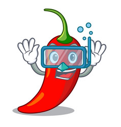 diving character red chili pepper for seasoning vector image