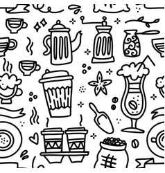 doodle cute hand drawn coffee seamless pattern vector image