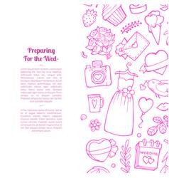 doodle wedding elements background vector image