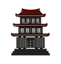Drawing house japanese traditional chinese facade vector